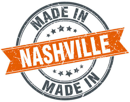 nashville: Nashville orange grunge ribbon stamp on white