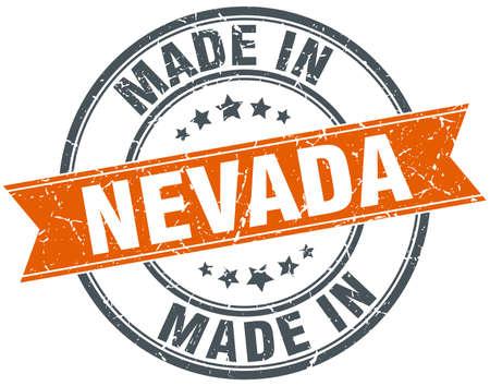 nevada: Nevada orange grunge ribbon stamp on white