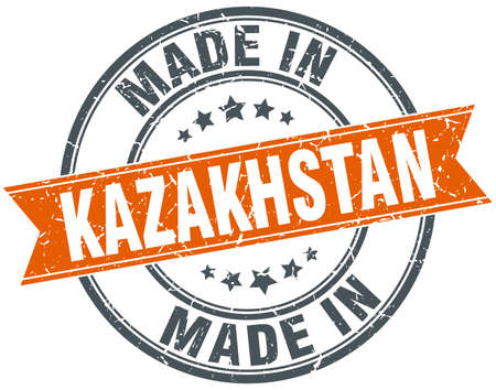 kazakhstan: Kazakhstan orange grunge ribbon stamp on white