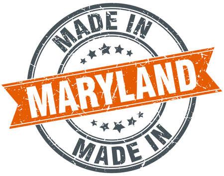 maryland: Maryland orange grunge ribbon stamp on white Illustration