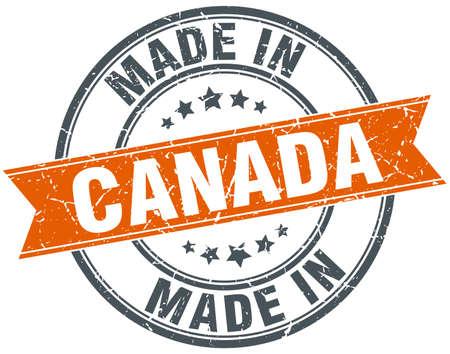 canada stamp: Canada orange grunge ribbon stamp on white