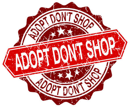 dont: adopt dont shop red round grunge stamp on white