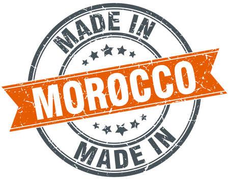 made in morocco: Morocco orange grunge ribbon stamp on white