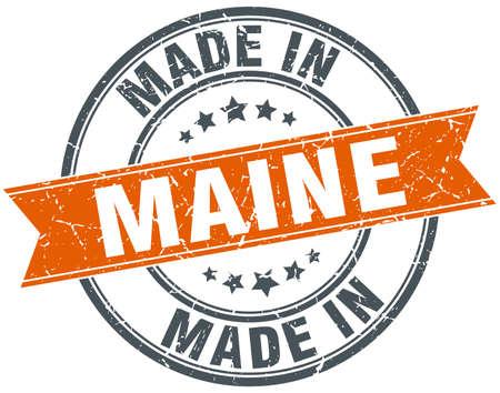 maine: Maine orange grunge ribbon stamp on white