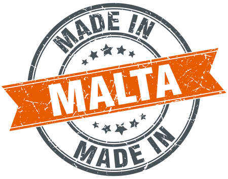 malta: Malta orange grunge ribbon stamp on white