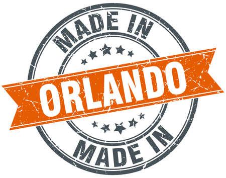 orlando: Orlando orange grunge ribbon stamp on white Illustration