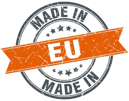eu: eu orange grunge ribbon stamp on white Illustration