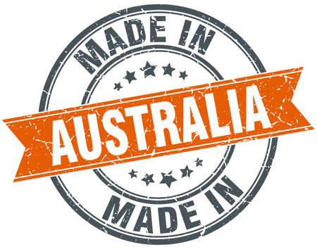 australia stamp: Australia orange grunge ribbon stamp on white