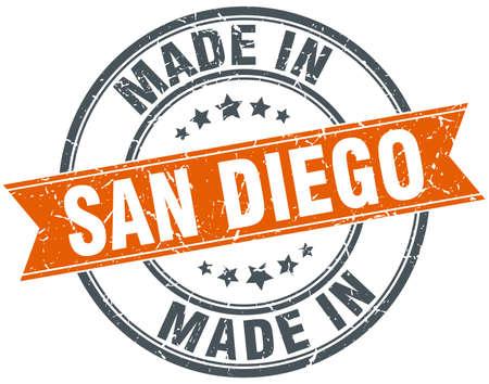san diego: San Diego orange grunge ribbon stamp on white