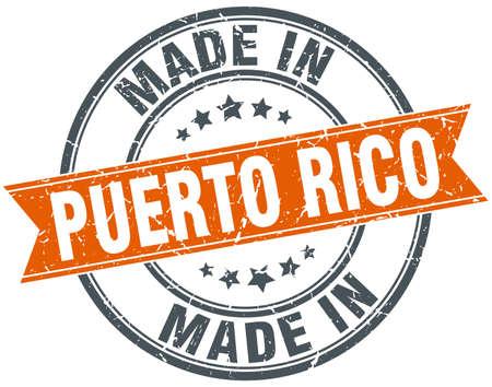 puerto rico: Puerto Rico orange grunge ribbon stamp on white
