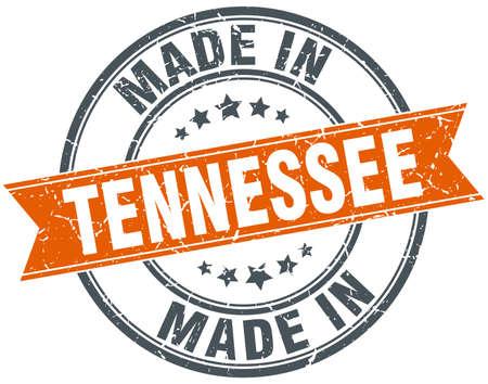 tennesse: Tennessee orange grunge ribbon stamp on white