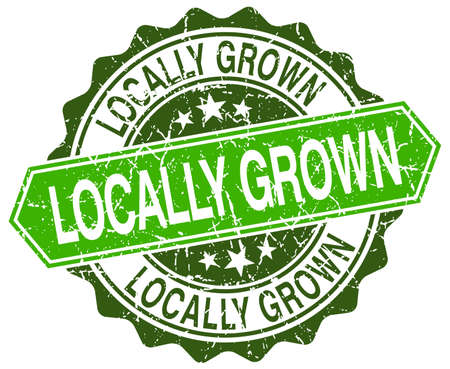 locally: locally grown green round retro style grunge seal Illustration