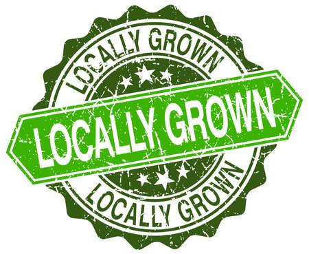 grown: locally grown green round retro style grunge seal Illustration