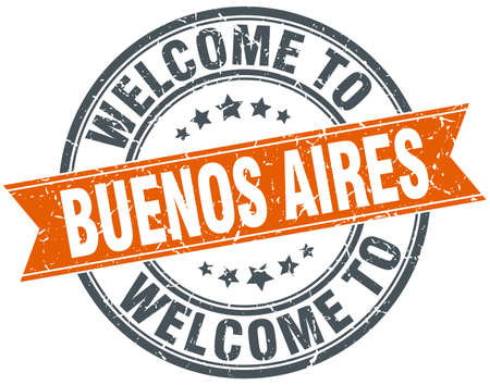aires: welcome to Buenos Aires orange round ribbon stamp Illustration
