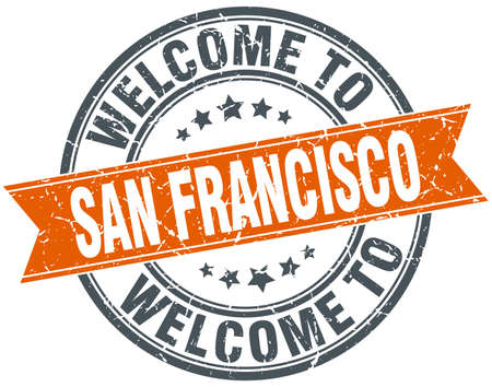 francisco: welcome to San Francisco orange round ribbon stamp