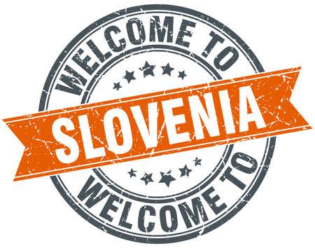 welcome to Slovenia orange round ribbon stamp Illustration