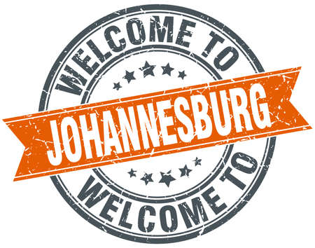 welcome to Johannesburg orange round ribbon stamp