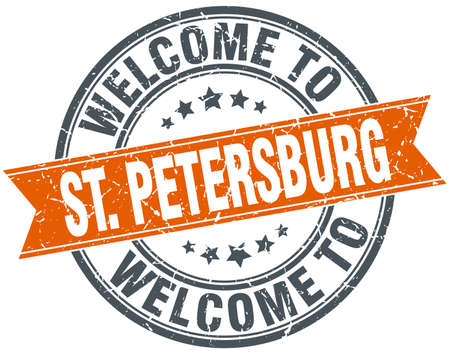 st petersburg: welcome to St. Petersburg orange round ribbon stamp Illustration