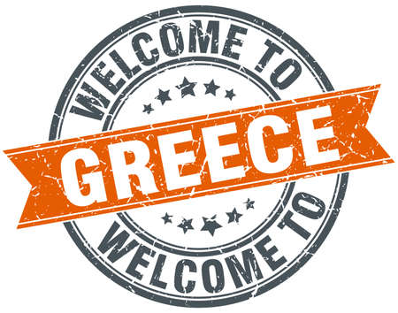 greece stamp: welcome to Greece orange round ribbon stamp