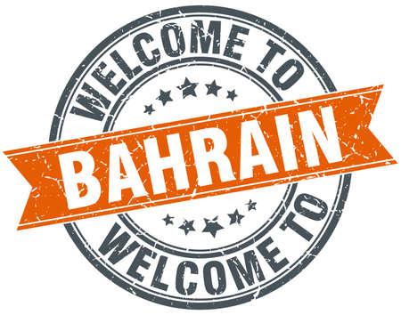 bahrain: welcome to Bahrain orange round ribbon stamp