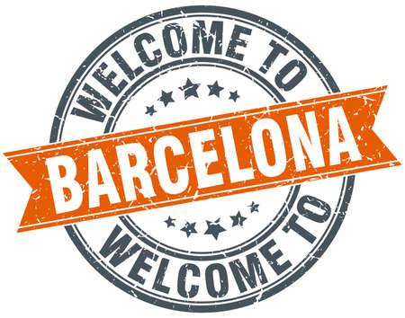 barcelona: welcome to Barcelona orange round ribbon stamp Illustration