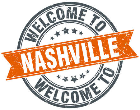 nashville: welcome to Nashville orange round ribbon stamp