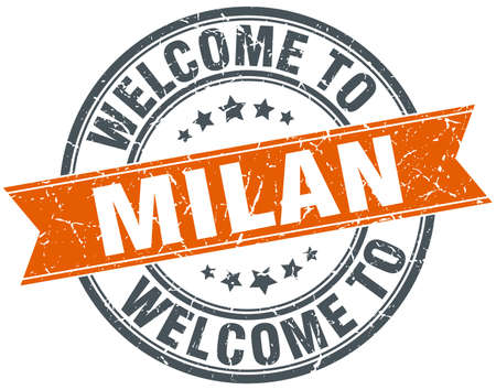 milan: welcome to Milan orange round ribbon stamp