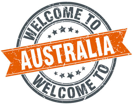 australia stamp: welcome to Australia orange round ribbon stamp