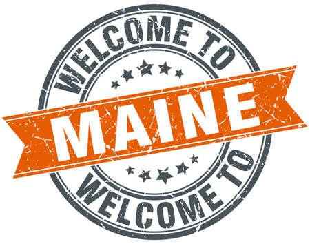 maine: welcome to Maine orange round ribbon stamp