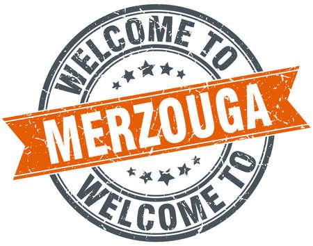 merzouga: welcome to Merzouga orange round ribbon stamp