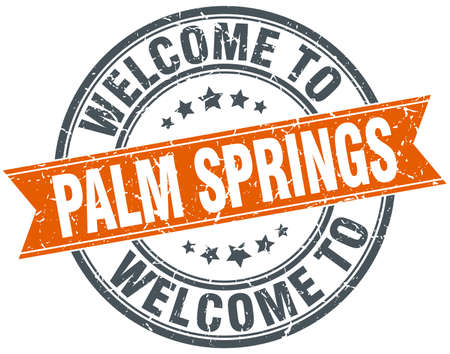 springs: welcome to Palm Springs orange round ribbon stamp