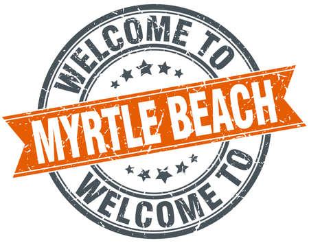 myrtle beach: welcome to Myrtle Beach orange round ribbon stamp