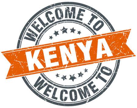 kenya: welcome to Kenya orange round ribbon stamp