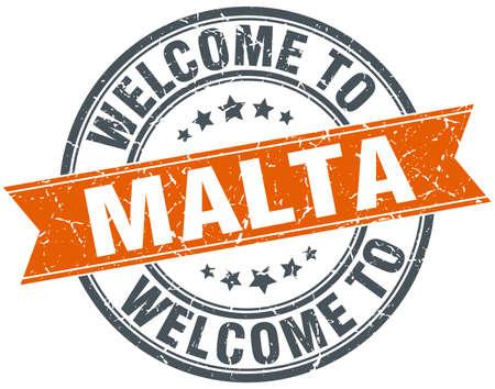 malta: welkom op Malta ronde sinaasappel lint stempel Stock Illustratie