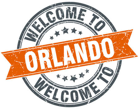 orlando: welcome to Orlando orange round ribbon stamp
