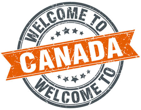 canada stamp: welcome to Canada orange round ribbon stamp Illustration