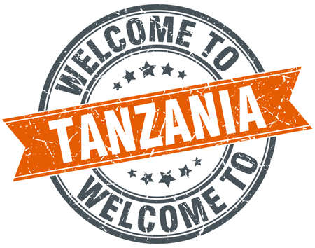 tanzania: welcome to Tanzania orange round ribbon stamp