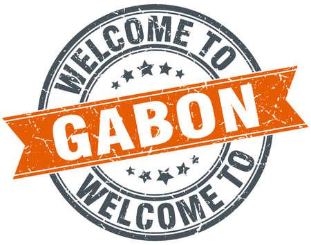 gabon: welcome to Gabon orange round ribbon stamp