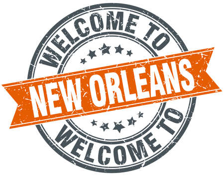 rubber stamp: welcome to New Orleans orange round ribbon stamp