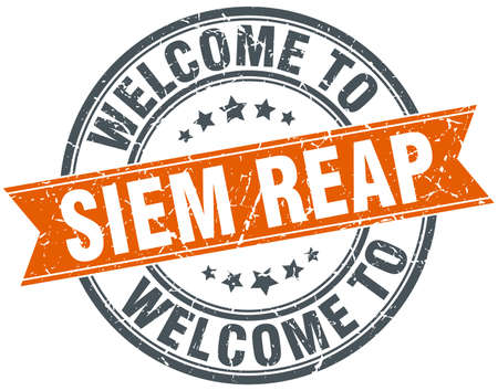 reap: welcome to Siem Reap orange round ribbon stamp