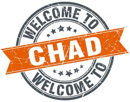 chad: welcome to Chad orange round ribbon stamp