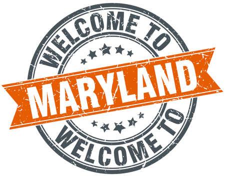 maryland: welcome to Maryland orange round ribbon stamp Illustration