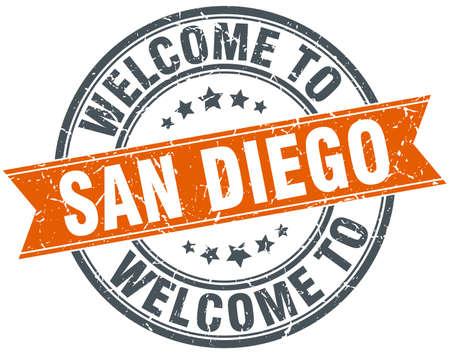 san diego: welcome to San Diego orange round ribbon stamp