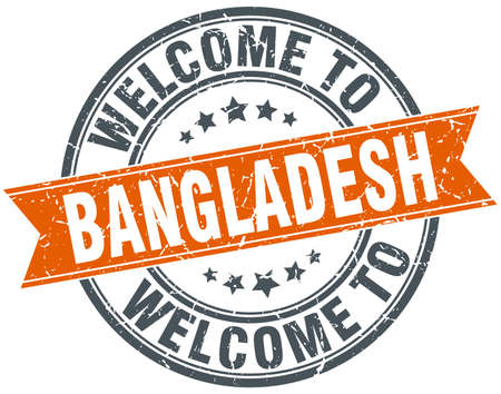 bangladesh: welcome to Bangladesh orange round ribbon stamp