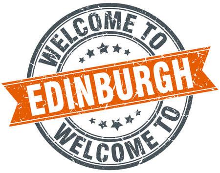 edinburgh: welkom om Edinburgh ronde sinaasappel lint stempel Stock Illustratie