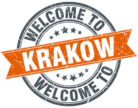 krakow: welcome to Krakow orange round ribbon stamp Illustration