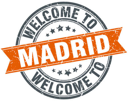 madrid: welcome to Madrid orange round ribbon stamp Illustration