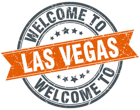 vintage sign: welcome to Las Vegas orange round ribbon stamp