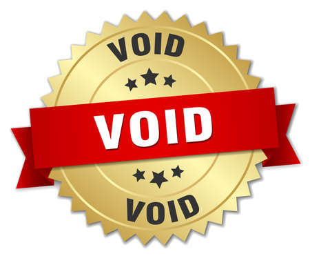 the void: void 3d gold badge with red ribbon