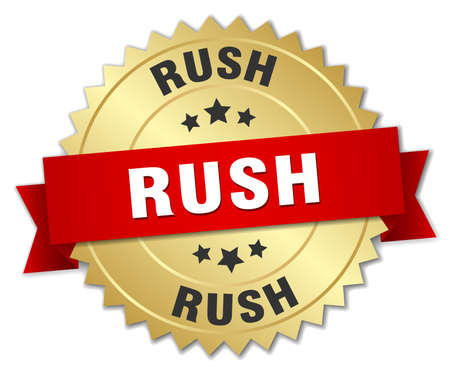 gold rush: rush 3d gold badge with red ribbon Illustration